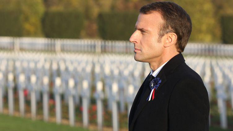 Le président de la République Emmanuel Macron le 6 novembre 2018 pour les commémorations du centenaire du 11-Novembre àDouaumont (Meuse). (LUDOVIC MARIN / AFP)
