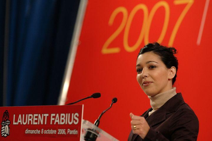 Sophia Chikirou lors d'un meeting de soutien à Laurent Fabius, le 8 octobre 2006, à Pantin (Seine-Saint-Denis). (MAXPPP)