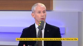 """Franck Riester, ministre de la Culture, était l'invité du """"18h50 franceinfo"""" du vendredi 14 février 2020 (capture écran). (FRANCEINFO / RADIOFRANCE)"""