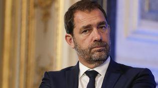 Christophe Castaner, porte-parole du gouvernement, lors d'une présentation du Premier ministre Edouard Philippe sur le dossier des migrants, le 12 juillet 2017 à Paris. (THOMAS SAMSON / AFP)