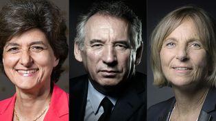 Sylvie Goulard, François Bayrou et Marielle de Sarnez (de gauche à droite) ont quittéle gouvernement. (JOEL SAGET / AFP)