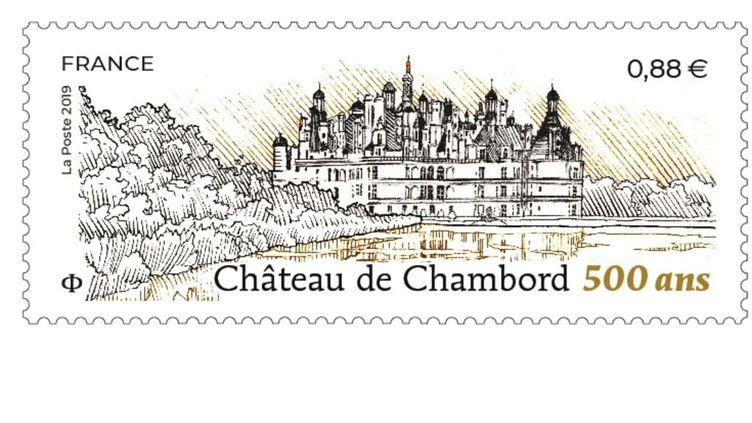 Le timbre édité pour les 500 ans du château de Chambord (Création Stéphane Levallois d'après photo Jean-Michel Turpin. Gravure Line Filhon / La Poste)