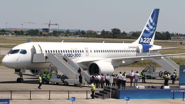 Présentation à Toulouse le 10 juillet 2018 du nouvel avion Airbus A220-300 (100 à 160 passagers) (MAXPPP)
