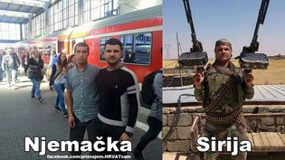 """Un photo-montage relayé par le site croate Hrvat Sam [""""Je suis croate""""] censé prouver qu'un réfugié arrivé en Allemagne est en fait un jihadiste du groupe Etat islamique. (DR)"""