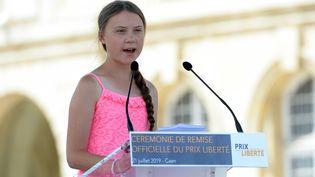 L'adolescente suédoise Greta Thunberg, le 21 juillet à Caen (Calvados), lors de la remise du prix Liberté. (JEAN-FRANCOIS MONIER / AFP)