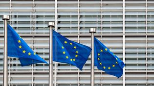Le drapeau de l'Union européenne à Bruxelles, le 27 août 2021. (ADRIEN NOWAK / HANS LUCAS / AFP)