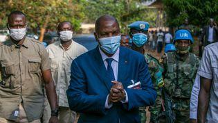 Le président de la Centrafrique, Faustin Archange Touadera, le 27 décembre 2020 à Bangui (Centrafrique). (NACER TALEL / ANADOLU AGENCY / AFP)