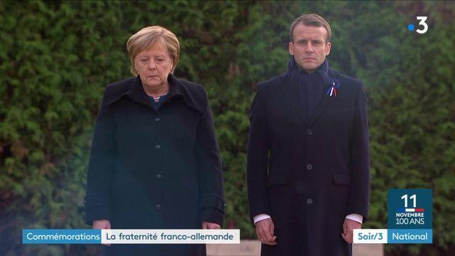 Commémorations : la fraternité franco-allemande affichée à Rethondes par Emmanuel Macron et Angela Merkel