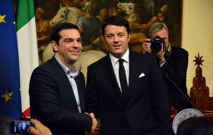 Rencontre Alexis Tsipras-Matteo Renzi, le 3 février 2015 à Rome. (Baris Seckin / ANADOLU AGENCY)