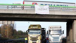 Manifestation contre l'écotaxe près de Lille (Nord), le 2 décembre 2013. (CITIZENSIDE / THIERRY THOREL / AFP)