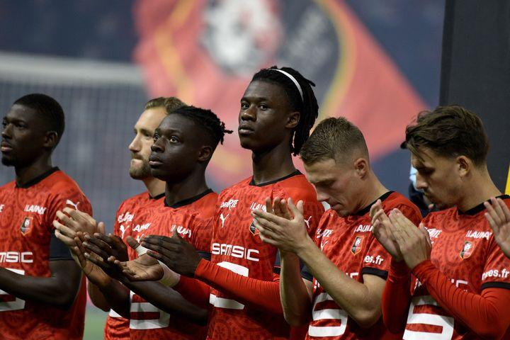 Les joueurs du Stade Rennais face à Angers le 23 octobre. (MARC OLLIVIER / MAXPPP)