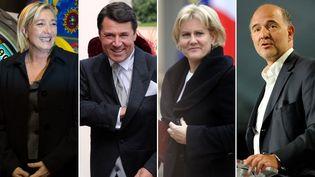 Le point commun entre Marine Le Pen (FN), Christian Estrosi (UMP), Nadine Morano (UMP) et Pierre Moscovici (PS)? Tous se sont vu décerner un point Godwin depuis 2007. (AFP PHOTO / Montage FTVi)