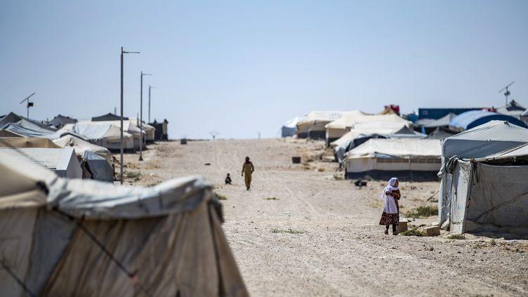 Le camp de Al-Hol, en Syrie, où vivaient certains des mineurs rapatriés en France, ici le 25 août 2020. (DELIL SOULEIMAN / AFP)