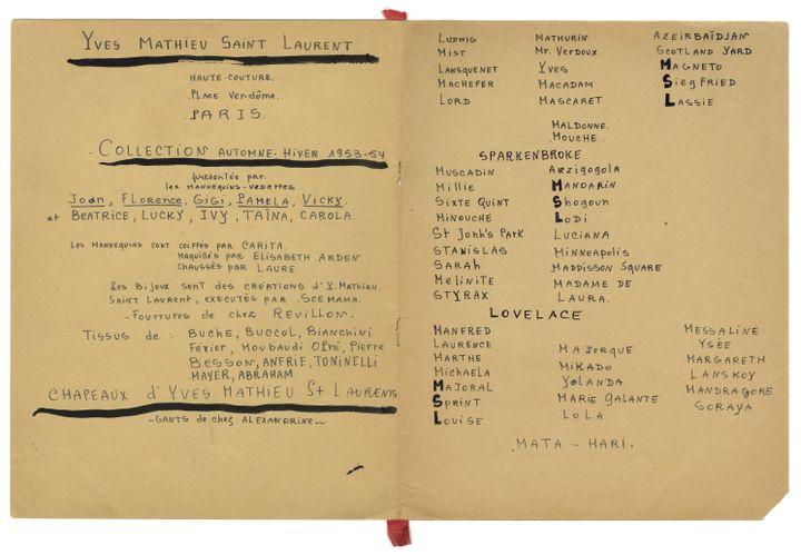 Intérieur du programme de collections des paper dolls, collection automne-hiver 1953-54 (Fondation Pierre Bergé-Yves Saint Laurent)