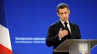 Nicolas Sarkozy, le 13 février 2012 à Issy-Les-Moulineaux (Hauts-de-Seine). (ERIC FEFERBERG / AFP)