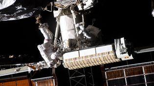 Thomas Pesquet en intervention sur les panneaux solaires de l'ISS, le 16 juin 2021. (NASA)