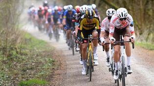 Le coureur suisse Michael Schär, le 28 mars 2021,lors de Gand-Wevelgem. (POOL VINCENT KALUT / BELGA MAG / AFP)