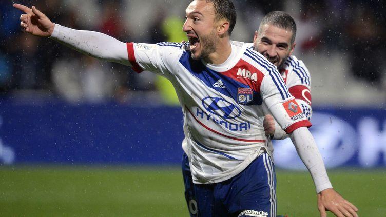 La joie de l'attaquant lyonnais Steed Malbranque après son but contre Bastia, le 4 novembre 2012. (PHILIPPE MERLE / AFP)