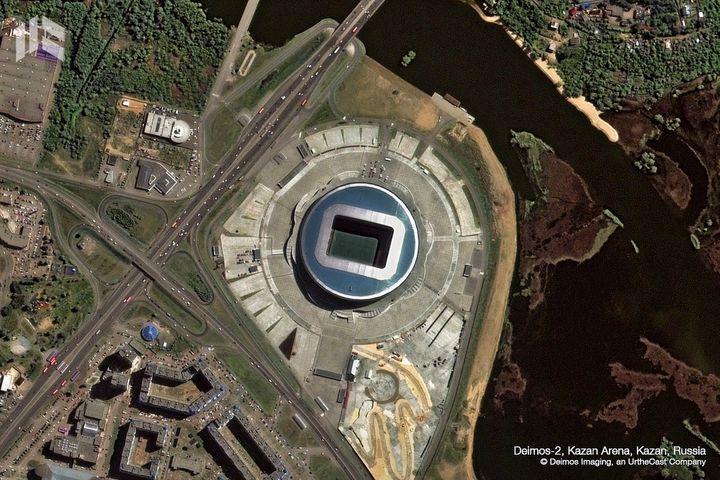 Le stade de Kazan, dans la capitale du Tatarstan, a accueilli le premier match de l'équipe de France. (DEIMOS IMAGING / URTHECAST)