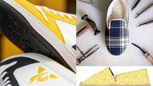 Des produits mode fabriqués en France : sneaker Terra pour Café Joyeux X Le Coq Sportif, charentaise de l'Atelier Charentaises et espadrille Payote (de gauche à droite) (DR)