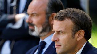 Emmanuel Macron et Edouard Philippe, le 29 juin 2020 à l'Elysée. (CHRISTIAN HARTMANN / AFP)