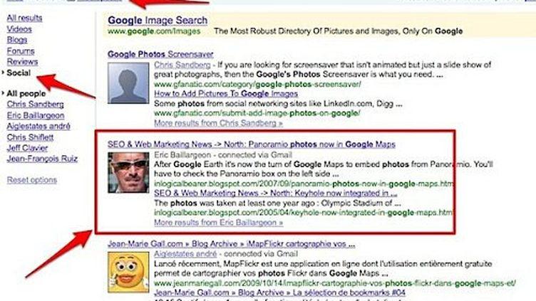 Une capture d'écran de Google.com et de la fonction Social Search. (DR)