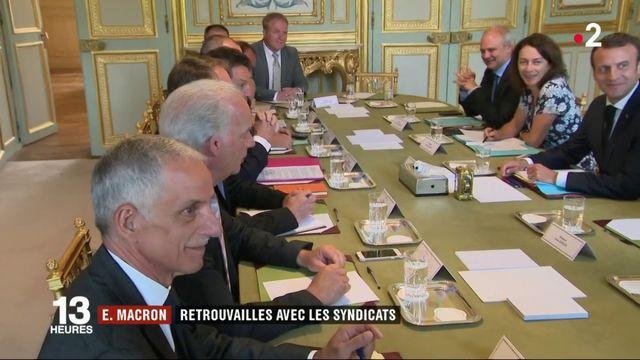 Emmanuel Macron a reçu syndicats et patronat à l'Élysée ce mercredi