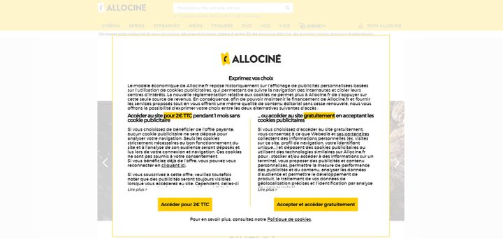 Bannière du site Allocine.fr invitant l'internaute à payer 2 euros ou à accpeter les cookies publicitaires. (ALLOCINE)