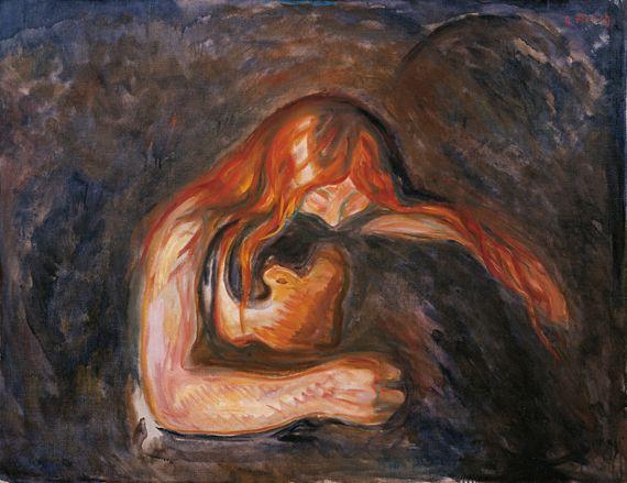 "Edvard Munch,""Vampire"",1916-1918. Huile sur toile, 83 x 104 cm. Musée Munch d'Oslo. ( THE MUNCH-MUSEUM / MUNCH-ELLINGSEN GROUP - ADAGP, PARIS 2013)"