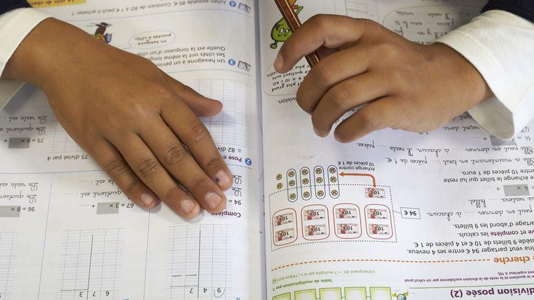Unélève face à son manuel de mathématiques. (GODONG / BSIP / AFP)