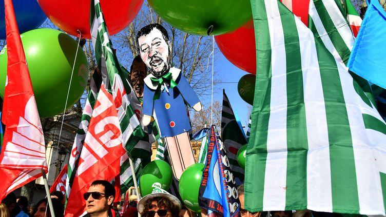 Manifestation à Rome contre la politique économique du gouvernement italien le 9 février 2019. (ANDREAS SOLARO / AFP)