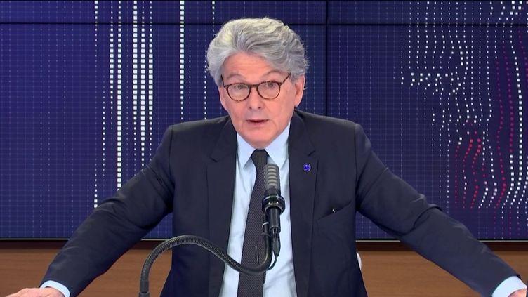 Thierry Breton, commissaire européen en charge de la Task Force Vaccins, invité de franceinfo vendredi 9 avril 2021. (FRANCEINFO / RADIO FRANCE)