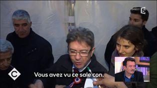 Capture d'écran du reportage de France 5 où Jean-Luc Mélenchon insulte un journaliste, diffusé le 20 mars 2017. (FRANCE 5)