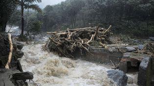 De fortes précipitations ont provoqué des glissements de terrain à Kozhikode dans l'Etat du Kerala en Inde, le 9 août 2018. (SIPA)