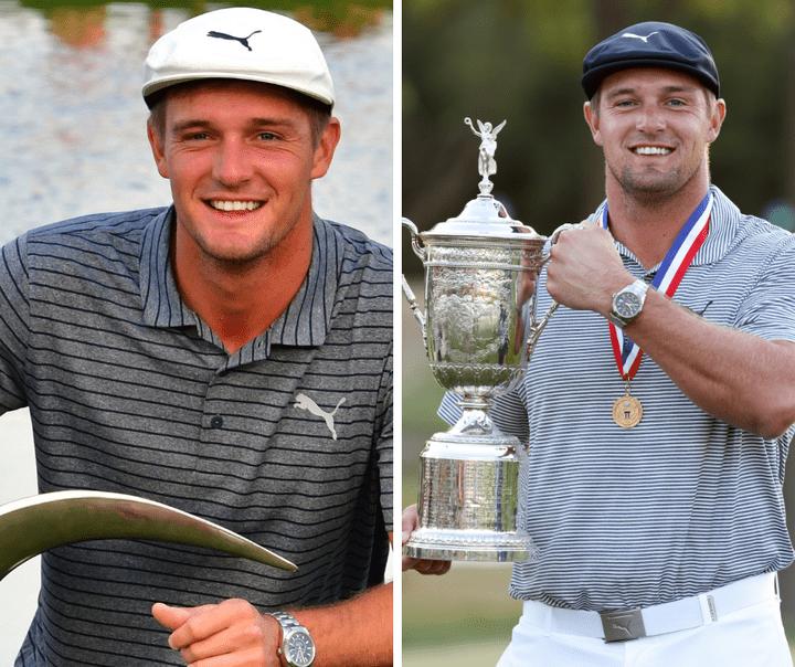 Avant/après : Dechambeau à gauche en 2019 et à droite lors de sa victoire à l'US Open.