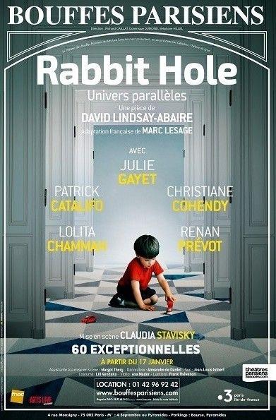 """Affiche de de la pièce """"Rabbit Hole"""" au Théâtre des Bouffes Parisiens avec Julie Gayet  (Théâtre des Bouffes Parisiens)"""