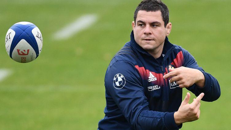Guilhem Guirado lors d'un entraînement à Marcoussis. (FRANCK FIFE / AFP)