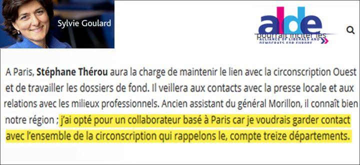 Stéphane Thérou était responsable de la formation des élus au sein du MoDem et a été assistant parlementaire de Sylvie Goulard de novembre 2009 à février 2015. (CAPTURE D'ÉCRAN)