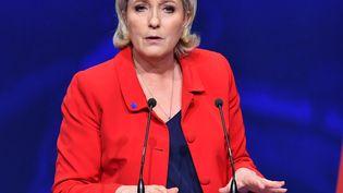 Marine Le Pen, le 17 avril 2017, lors de son meeting à Paris. (MUSTAFA YALCIN / ANADOLU AGENCY / AFP)