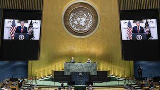 Le président des Etats-Unis, Donald Trump, s'exprime à distance devant l'assemblée générale de l'ONU, le 22 septembre 2020 à New York. (ESKINDER DEBEBE / UNITED NATIONS / AFP)