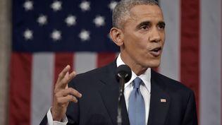 Le président américain Barack Obama, pendant son discours sur l'état de l'Union, le 20 janvier 2015 à Washington. (SIPANY / SIPA)