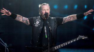 James Hetfield,le chanteur et guitariste de Metallica, ci-contre lors d'un concert au Danemark en 2019.Metallica qui fera la clôturedu Hellfest, près de Nantes, en 2022. (MADS CLAUS RASMUSSEN / EPA/RITZAU SCANPIX)