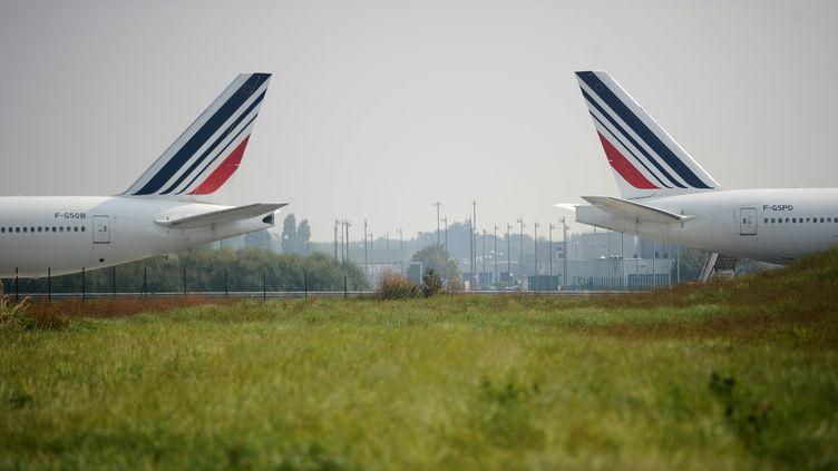 Des avions Air France à l'aéroport de Roissy-Charles de Gaulle (Val-d'Oise), le 24 septembre 2014. (STEPHANE DE SAKUTIN / AFP)