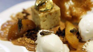 """""""Inclusion de grillons en bubble au whisky"""" figure désormais à la carte du chef étoile David Faure. Photographie réalisée le 23 avril 2013 à Nice (Alpes-Maritimes). (VALERY HACHE / AFP)"""