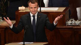 Le président français Emmanuel Macron arrive au Congrès américain, le 25 avril 2018. (MANDEL NGAN / AFP)