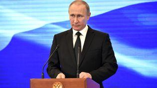 Le président russe, Vladimir Poutine, à Saint-Pétersbourg, le 30 juillet 2017. (ALEKSEY NIKOLSKYI / SPUTNIK / AFP)