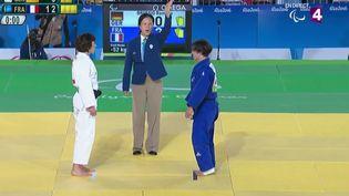 Sandrine Martinet devient la première championne paralympique française à Rio, le 8 septembre 2016. (FRANCE TELEVISIONS)