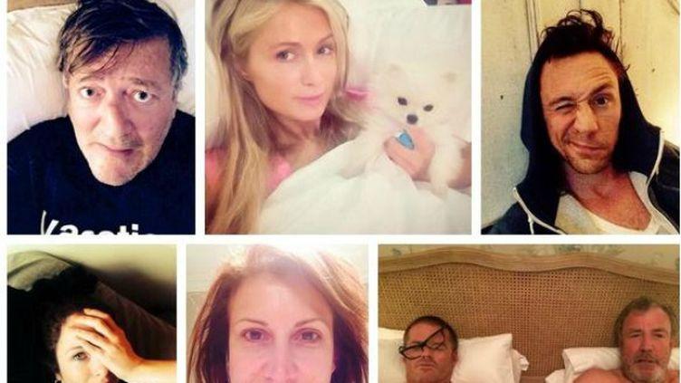 (Célébrités et particuliers se photographient à leur réveil à l'intiative de l'Unicef © Capture d'écran Twitter)