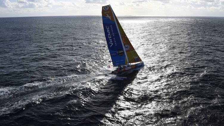 Le bateau Saint-Michel-Virbac de Jean-Pierre Dick, le 6 novembre 2016, aux Sables-d'Olonne, avant le départ du Vendée Globe. (DAMIEN MEYER / AFP)