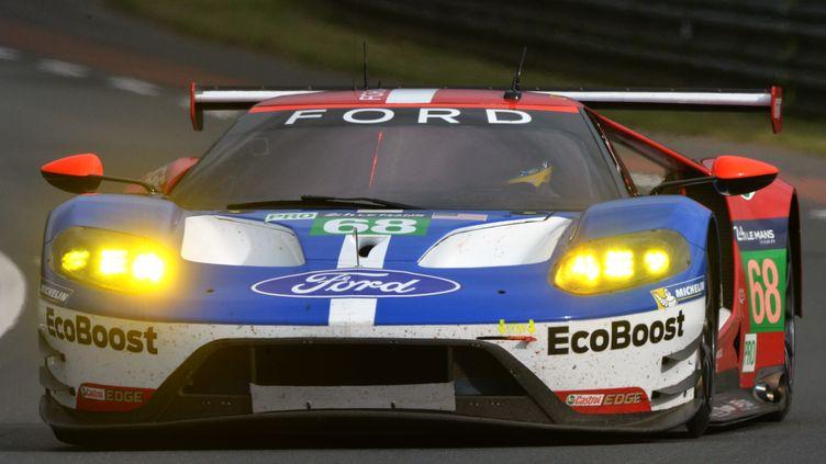 Sébastien Bourdais comme un poisson dans l'eau avec Ford sur le circuit du Mans (JEAN-FRANCOIS MONIER / AFP)